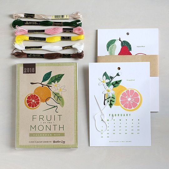 """Embroider a bounty of fruit year-round with this easy poke-and-stitch calendar kit. Learn four simple stitches with the help of diagrams and instructions. Create your own paper calendar by embellishing apple blossoms in September or stitching strawberry seeds in May. Age 8 and up.The Fruit of the Month Calendar Kit includes:• 12 calendar cards of heavy, recycled paper (5.25"""" x 7.25"""")• instructions (printed on recycled paper)• an embroidery needle• 6 skeins of e..."""