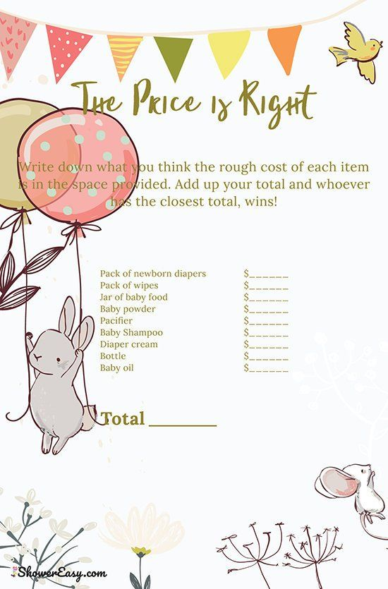 Baby Shower Game Printable The Price Is Right Pdf Baby Shower