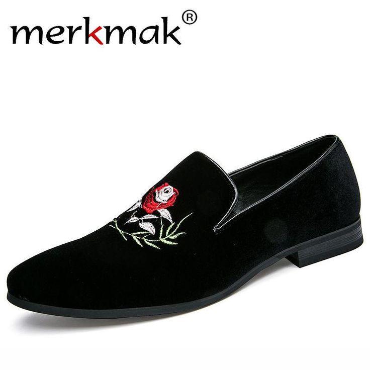 Merkmak Handmade Flower Men's Suede Loafers Wedding Party Men Shoes Luxury Exquist Embroidery Elegant Dress Shoes for Men Flats