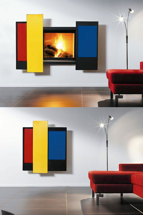 CHROMIFOCUS #innovative wall-mounted vent free #fireplace, design by Dominique Imbert (2005) via http://www.archiproducts.com