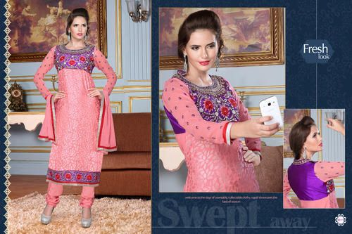 Ethnic Party Wear  Georgette Brasso Semi-Stitched straight cut Pink and Purple Salwar suit with heavy thread embroidery. Comes with Santoon Inner And Bottom and Chiffon dupatta.
