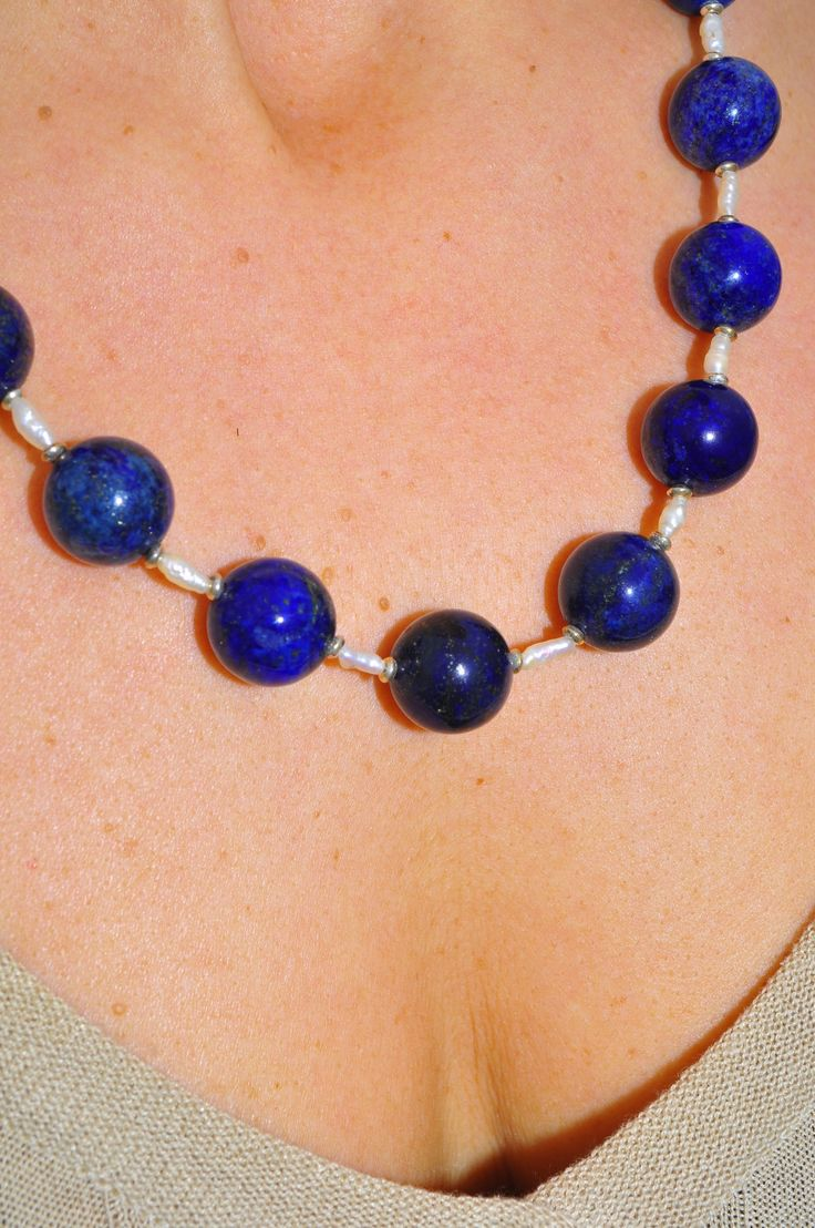 necklace lapis lazuli stones perls and 925 silver  collana in pietre lapislazzuli  perle e  argento 925 di Oxidex su Etsy