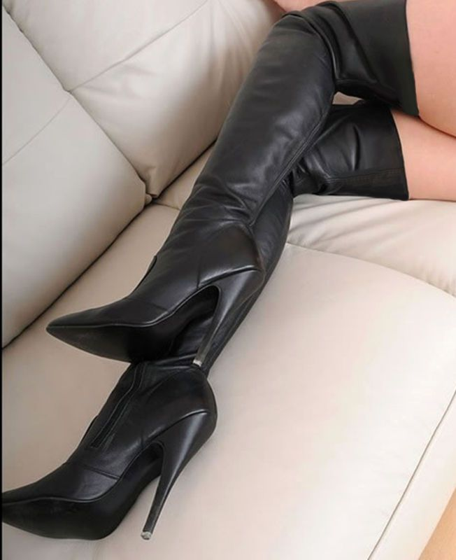 "Rare Fetish Black Leather 5.4"" High Heel Over Knee Thigh Boots 9/10 43/44 US 12"