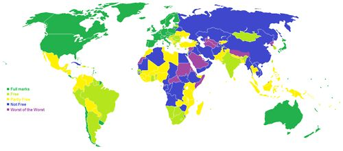 Level of freedom in each country of the world in 2013 according to FreedomHouse  Each country is given a score out of 7 for its performance in two criteria: Political Freedoms and Civil Liberties. Countries with an average score of 1-2 are considered to be 'Free', countries with a score of 3-5 are 'Partly Free', and countries with a score of 6-7 are 'Not Free'. In addition, those with a score of 7 for both Political Freedoms and Civil Liberties are classified as 'Worst of the Worst'.