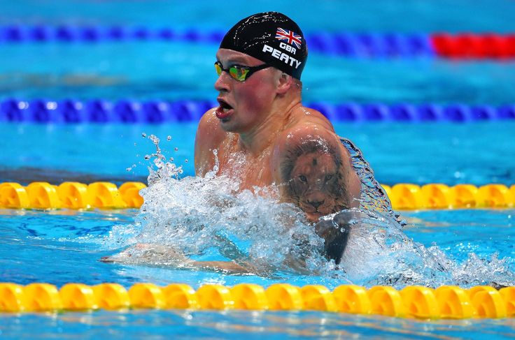 for @adam_peaty as he defends his World 100m breaststroke title in 57.47 seconds    #FINABudapest2017 #タトゥー #競泳 #選手 #世界選手権 #世界水泳 #男子