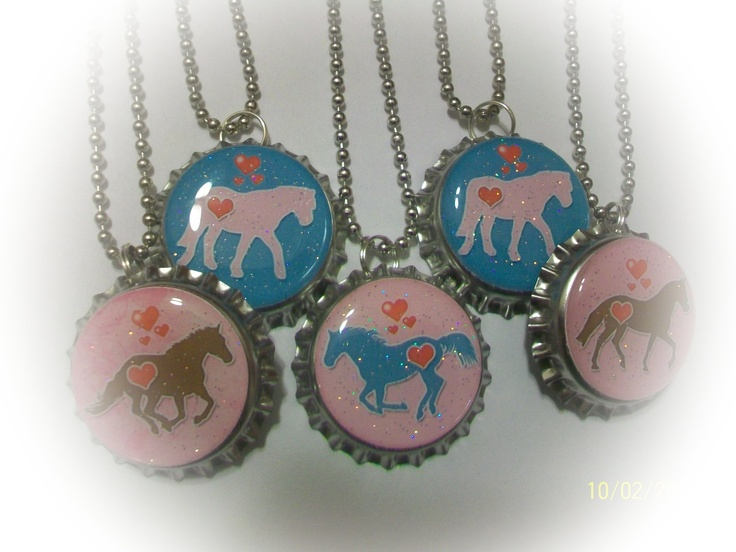free shipping-5 I LOVE HORSES cowgirl rodeo pony birthday party favors bottlecap necklaces or keychains. $9.99, via Etsy.