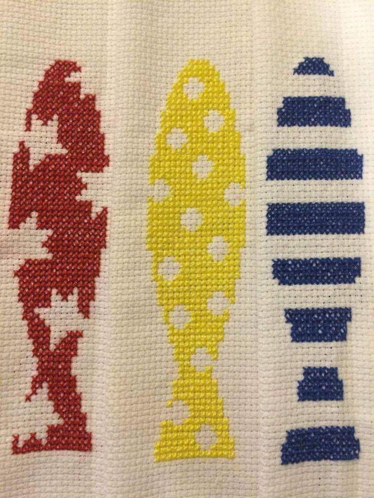 Fish balik cross stitch seaside lamer red blue yellow