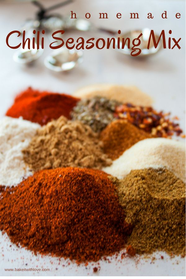 Delicious homemade stove-top or crock pot chili is what's for dinner with this easy to make, from scratch, Homemade Chili Seasoning Mix! This chili seasoning mix is perfectly suited for beef, turkey, and chicken chili as well as any variety of beans you would like to use in a vegan version of bean chili… BakeItWithLove.com   #chiliseasoning #chilimix #seasoningmix #homemade