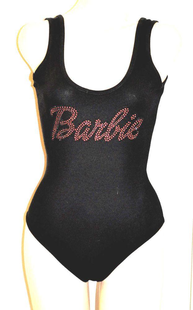 Sexy Black Rhinestone Pink Barbie Stretchy 80's 90's playsuit Bodysuit Costume  #Unbranded #Tunic #Clubwear