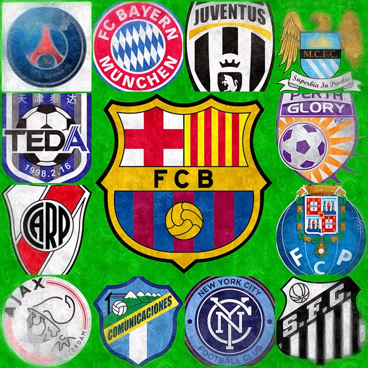 My favorite teams from different leagues around the world. Left to Right, Top to Bottom    Paris Saint Germain: France, Bayern Munich : Germany, Juventus: Italy, Manchester City: England      Tianjin Teda F.C: China, FC Barcelona : Spain, Perth Glory: Australia      River Plate: Argentina, FC Barcelona: Spain, FC Porto: Portugal      Ajax: Netherlands, Comunicaciones: Guatemala, New York City FC: United States of America, Santos FC: Brasil