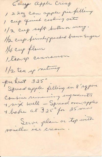 Easy Apple Crisp: The Heartland: Vintage Recipes