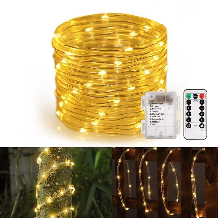 Outdoor LED Rope Lights Battery Operated Waterproof  120 LED String Lights Home