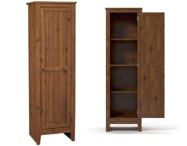 Kitchen Pantry Storage Cabinet Pine Wood Organizer Cupboard Brown 60