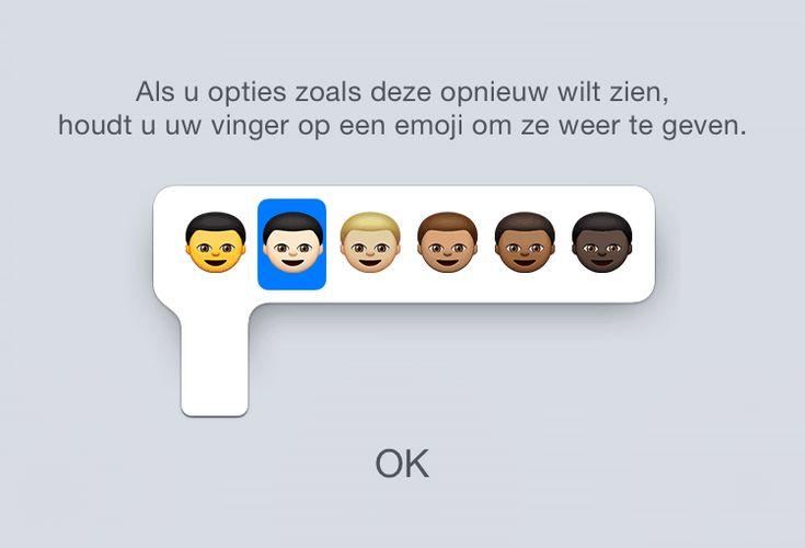 Emoji met verschillende huidskleuren gebruiken op iPhone en iPad: hou vinger op emoji om verschillende versies weer te geven