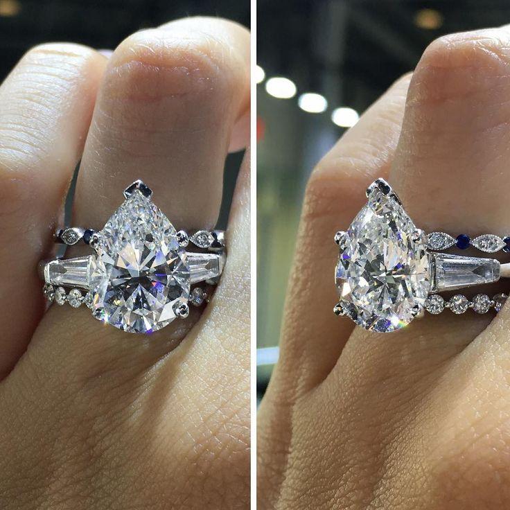 I love this big, beautiful pear shaped diamond ring!