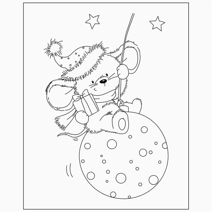 Новогодняя мышка картинки черно белые