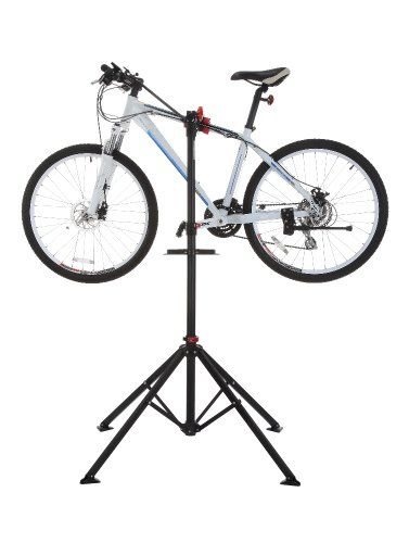 Confidence Deluxe Bicycle Repair Stand. Here's a bike repair stand for $46. Well reviewed, too!