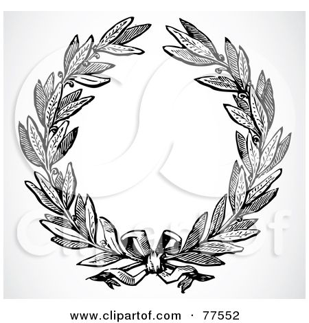 Royalty-Free (RF) Clipart Illustration of a Black And White Olive Leaf Laurel by BestVector