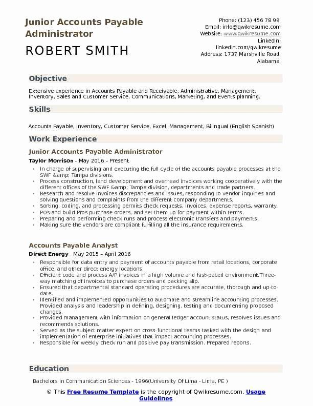 23 Accounts Payable Job Description Resume In 2020 Resume