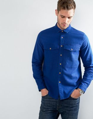 ASOS - Surchemise en mélange de lin avec poches sur la poitrine - Bleu