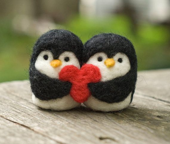 Hey, I found this really awesome Etsy listing at http://www.etsy.com/listing/125274269/needle-felted-penguin-love-birds