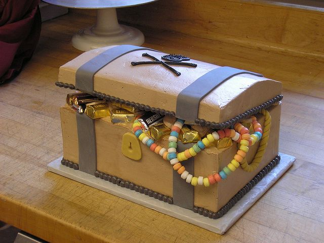 treasure chest cake with treats inside