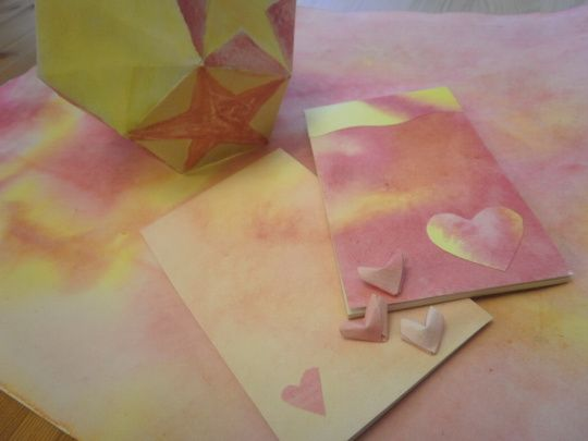 Star lantern, notepads and origami hearts using wet on wet paper.
