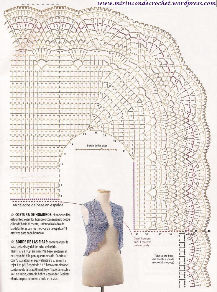 Bolero en una sola pieza….Divino!!! | Mi Rincon de Crochet: Hook, Haken Crochet, Boleros Written, Boleros, Mi Rincon, In A, Sobre Boleros, Crochet Clothing, Shirt