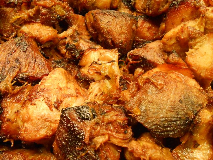 """Carnitas or """"little meats,"""" which originate from the Mexican state of Michoacán, are made by braising pork in stock, citrus and spices until tender and juicy. We'll be serving pork carnitas with cheddar scrambled eggs, salsa, house-made corn tortilla, and red cabbage slaw for Easter Brunch."""