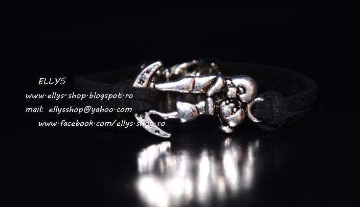 Ellys Shop: Bratara imitatie piele intoarsa neagra si accesori...