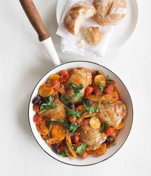 Australian Gourmet Traveller fast recipe for tomato-braised chicken thighs with fennel and olives.