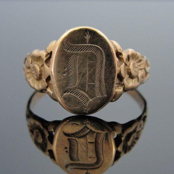 Victorian Mourning Signet Ring / Anello a timbro per Sigilli in stile Vittoriano - (msjewelers on etsy)