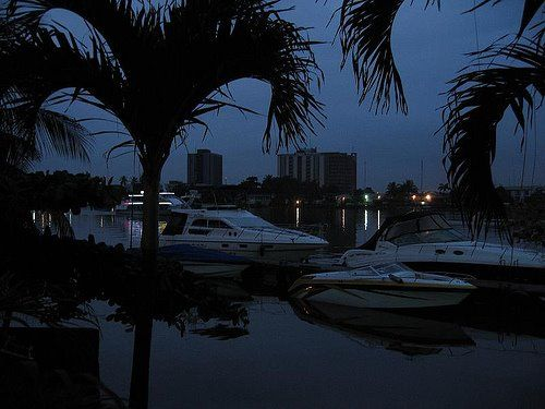 A view of the Lagos Lagoon after sunset