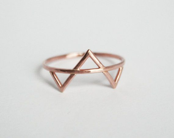 Rose Gold Three Spikes Ring, Spikes Ring, Rose Gold Ring, Simple Gold Ring