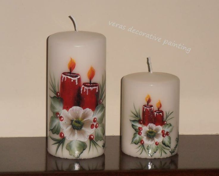 17 best images about hand painted candles on pinterest for Can you paint candles with acrylic paint