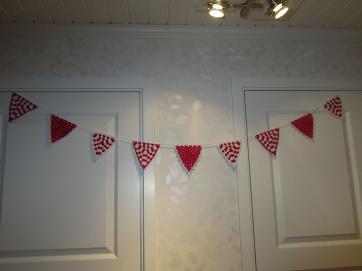 Red and White bunting. Garland