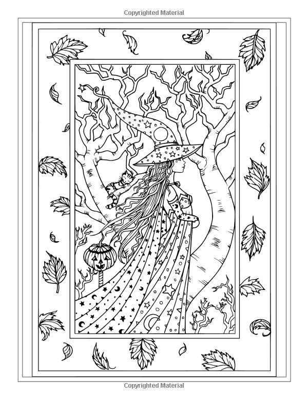 Autumn Fantasy Coloring Book Halloween Witches Vampires And