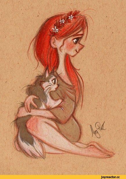 арт,красивые картинки,девочка,рыжая,котейка