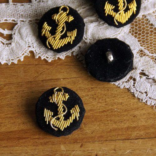 デッドストックフランスアンカー手刺繍ヴィンテージボタン anchor