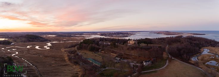 Aerial photo of Crane Castle at sunset Ipswich Massachusetts BDW Photography