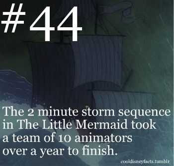 """The 2 minute storm sequence in ""The Little Mermaid"" took a team of 10 animators over a year to finish."" FROM: Cool Disney Facts"