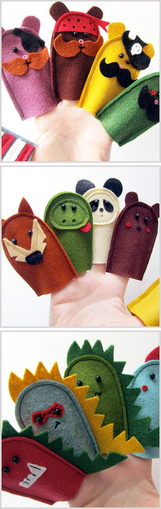 Pirate Bears, Dinosaurs, Wildlife, Handmade, Finger Puppets, The Big Forest