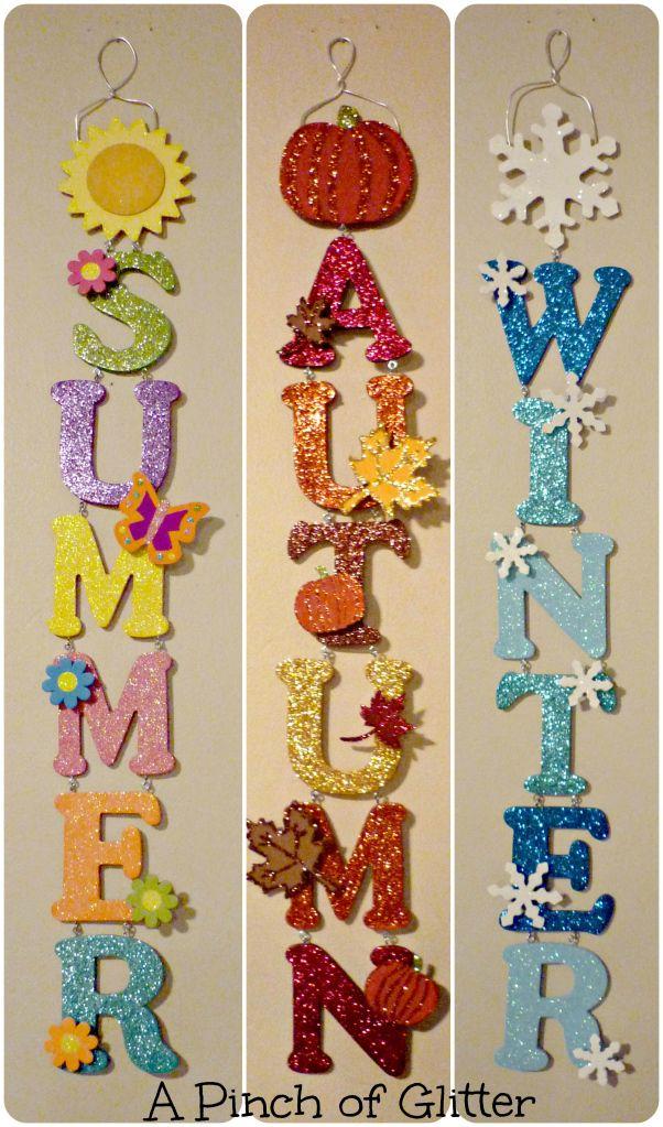 DIY Glittered Seasonal Wall Hangings (Tutorial) | www.apinchofglitter.com | #diy #glitter #seasonal