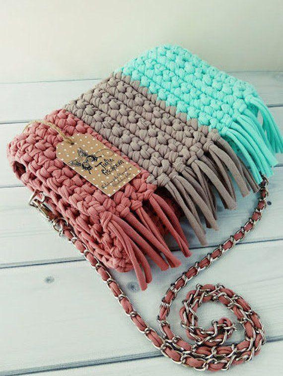 Photo of Crocheted bag shoulder bag handmade bag small handbag clutch knit bag cotton