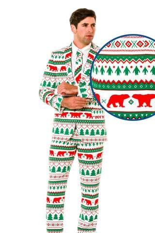 White Men's Ugly Sweater Suit with Red and Green Christmas Fair Isle Stripe Design
