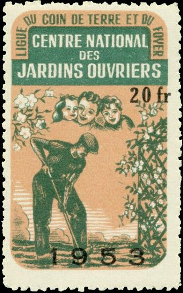 Timbre pour le centre national des jardins ouvriers en 1953 /©Musée du Vivant-AgroParisTech