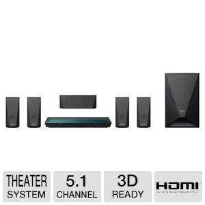 #Sony 5.1 Channel 1000 Watts 3D Blu-ray DVD Surround Sound Home Theater System The 3D Blu-ray Home Theater with Wi-Fi makes an ideal companion for your 3D telev...