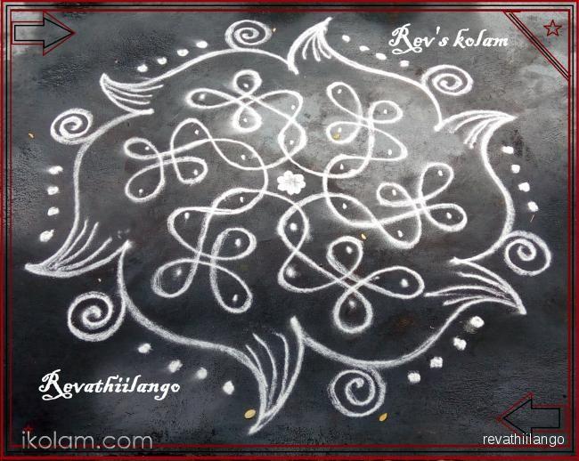 Rangoli Rev's easy chikku 6. 7 to 4 intermediate dots. | m.iKolam.com