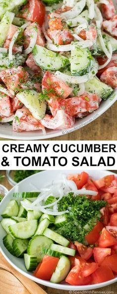 Creamy Cucumber Tomato Salad is the perfect side salad for any time of year! It is packed with juicy ripe tomatoes, crisp cucumbers and fresh herbs and all topped off with a delicious creamy dressing for a healthy addition to your menu plan!