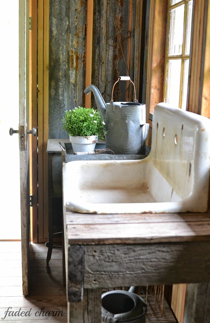 potting shed sink ~~ Faded Charm: ~Spring Cleaning~whoa! i have this exact sink for my shed!                                                                                                                                                                                 More
